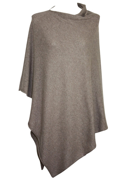 Poncho Plain - Wool/Cashmere Mix - Nougat - One Size - Mathlau