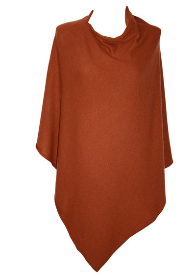 Poncho Plain - Wool/Cashmere Mix - Rust - One Size - Mathlau