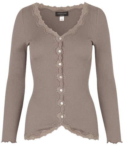 Silk Cardigan - Regular long Sleeve w/Rev Vintage Lace - Dark Sand - Rosemunde