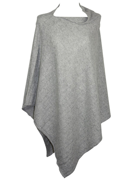 Poncho open - wool/cashmere mix - Lysegrå Meleret - Mathlau