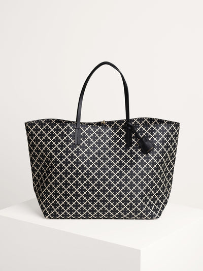 Abi Tote - Shopper - Sort/Råhvid Print - by Malene Birger