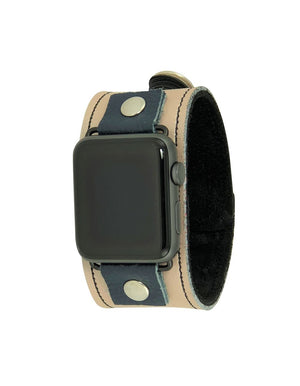 NAN Apple Watch Band - Tan & Navy Blue