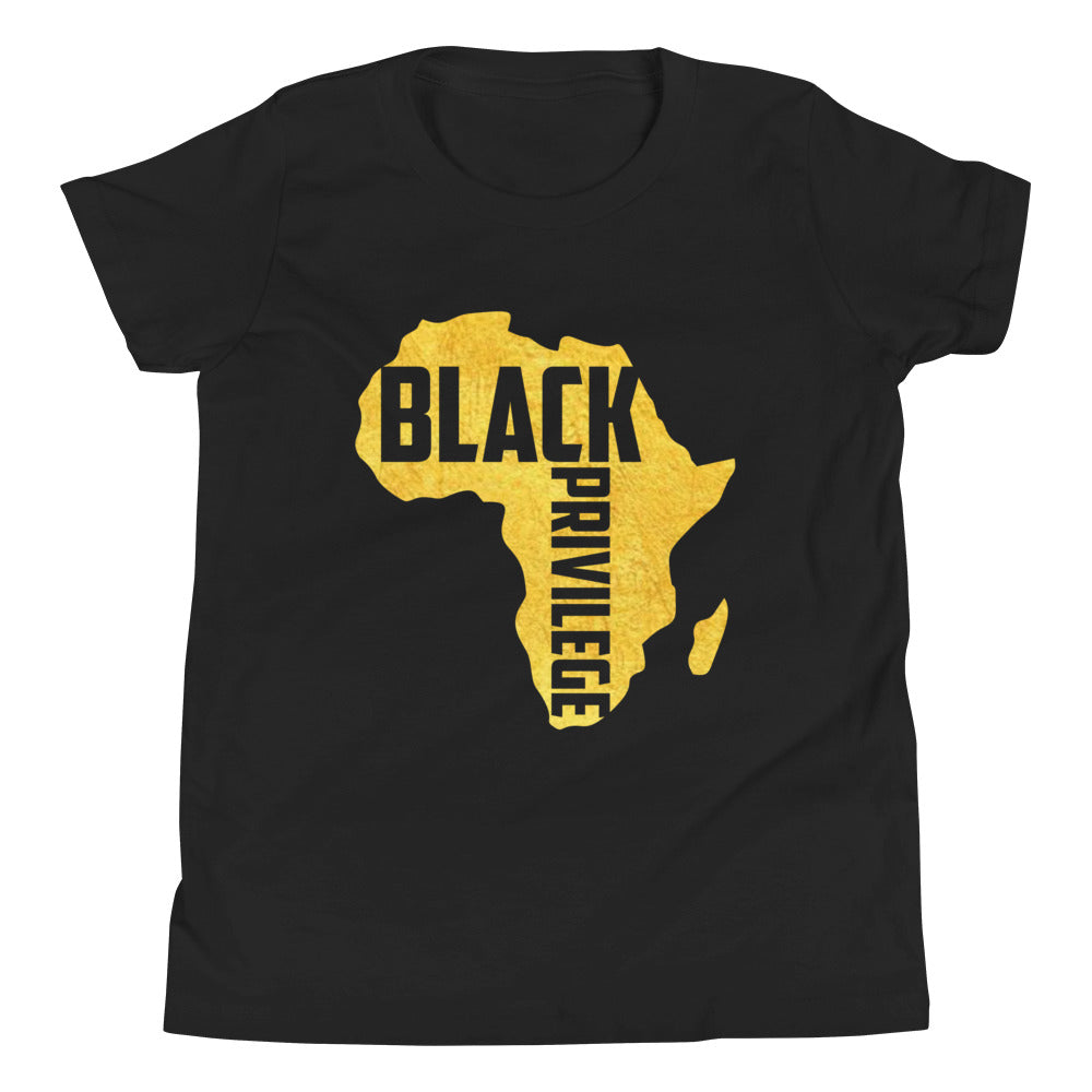 Youth Short Sleeve Black Privilege Gold T-Shirt