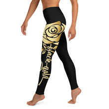 Load image into Gallery viewer, Black Gold Rose Yoga Leggings (black)