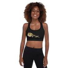 Load image into Gallery viewer, Black Gold Rose Padded Sports Bra