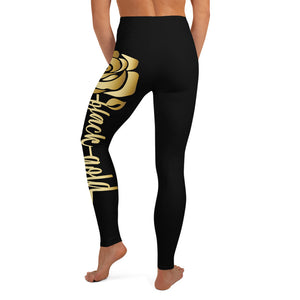 Black Gold Rose Yoga Leggings (black)