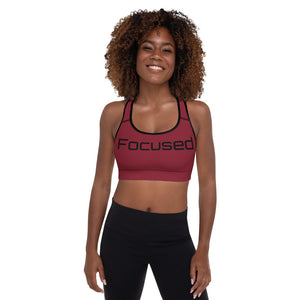 Burgandy Focused Padded Sports Bra