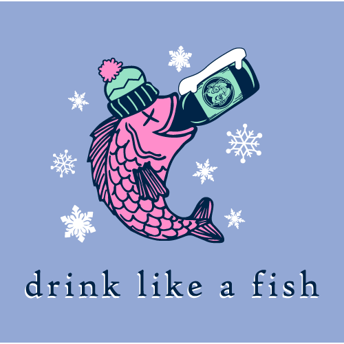 Red Jug Pub Oneonta Drink Like a Fish Winter Long Sleeve