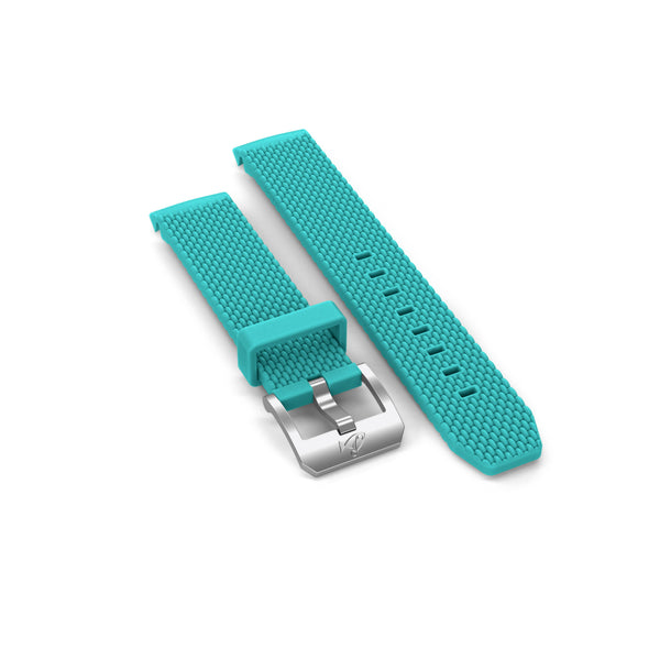 Rubber strap with buckle, Turquoise