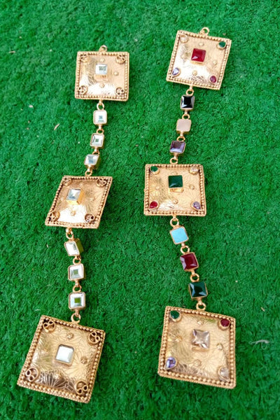 Bandhej Copper Buttons Square - Braahtii
