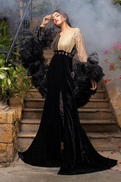 Black Frill Shrug Maxi - Chic Ophicial