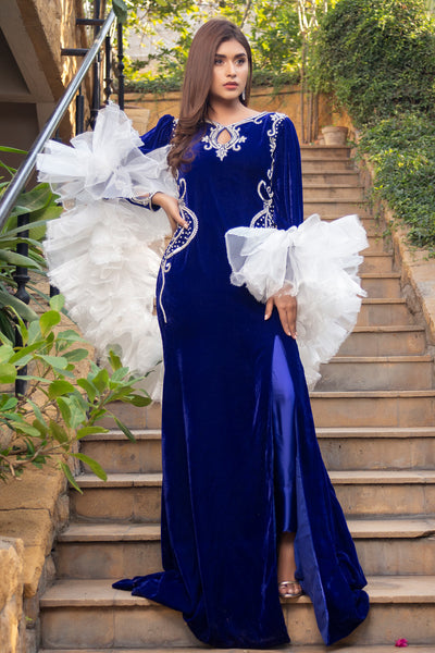 Blue Frill Shrug Maxi - Chic Ophicial