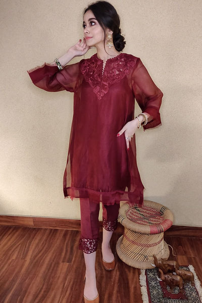 CUTWORK BASIC - MAROON WITH PANTS - Farida Hassan