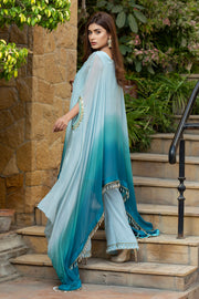 Color Block Cape Blue - Chic Ophicial