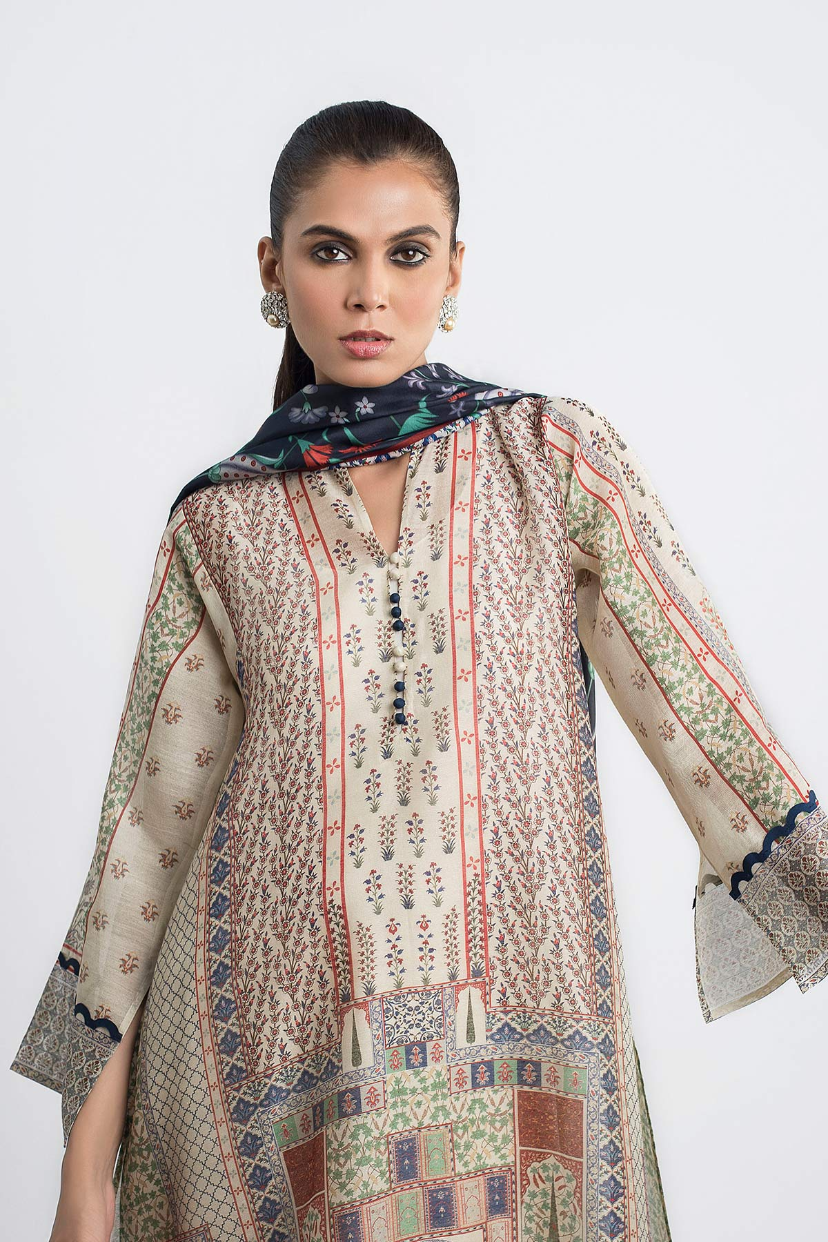 DIGITALLY PRINTED COTTON NET SHIRT Beige - Sania Maskatiya