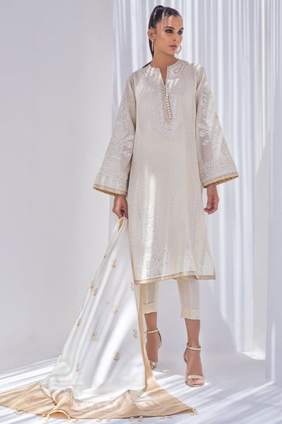 EMBROIDERED KHAADI SILK KURTA WITH DUPATTA - Sania Maskatiya