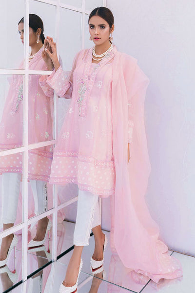 Palazzo pink sequence embellished shirt and dupatta - Farah Talib Aziz