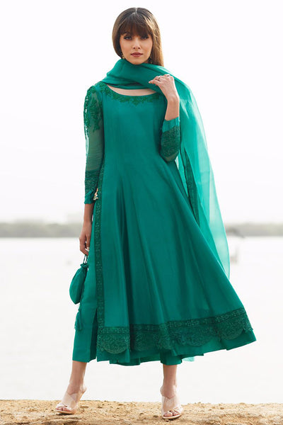 Emerald silk Kalidaar with pure organza embroidered dupatta - Farah Talib Aziz