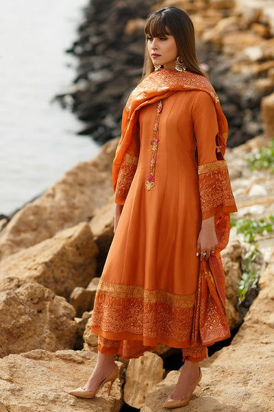 Madras Orange Panelled shirt with dupatta - Farah Talib Aziz