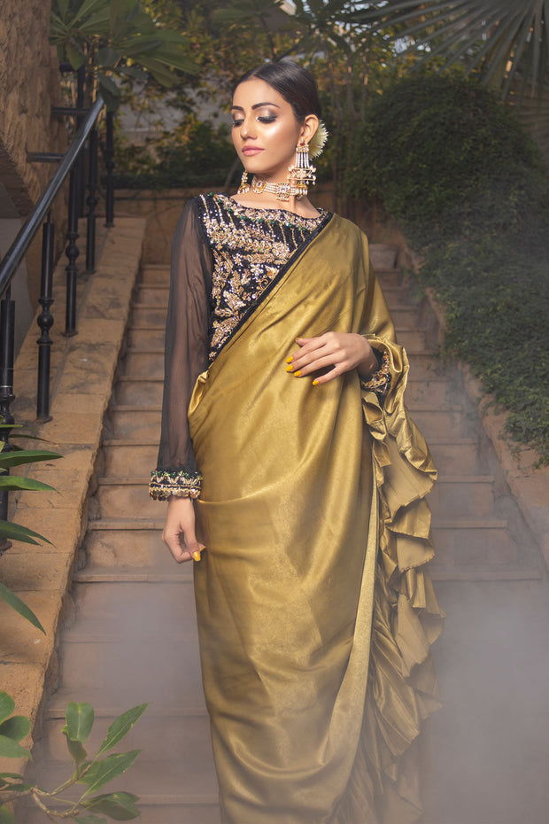 Gold Black Pleated Sari - Chic Ophicial