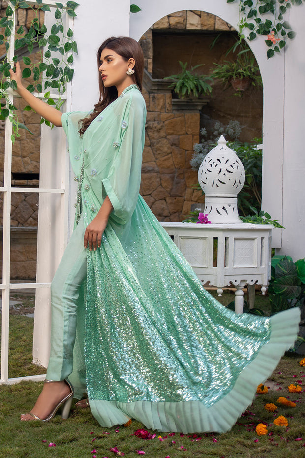 Green Sequin Kaftan - Chic Ophicial