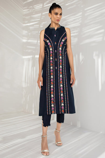 EMBROIDERED FRONT OPEN KURTA - Sania Maskatiya