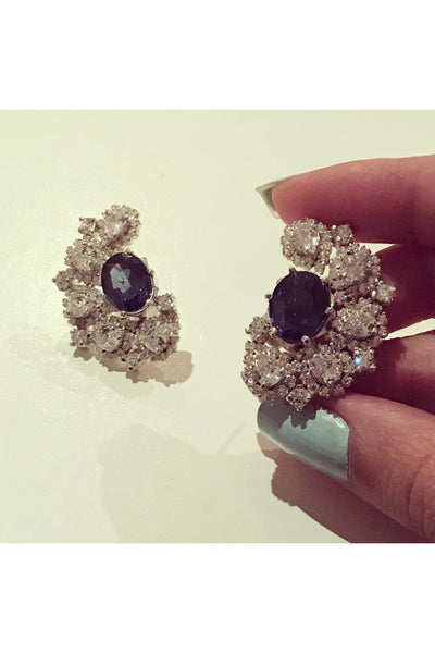 Sapphire - half moon earrings. - Meraki