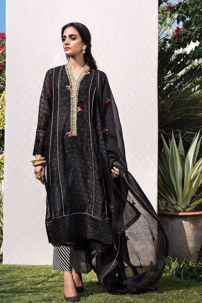 Black Shimmer Embellished Pure Cotton Net Shirt And Embroidered Dupatta - Farah Talib Aziz