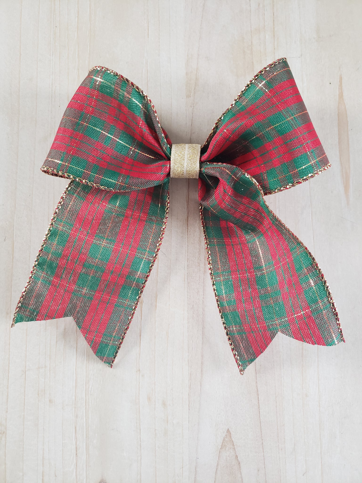 Plaid Bow- Red & Green