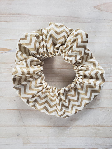 Chevron Scrunchie- Gold