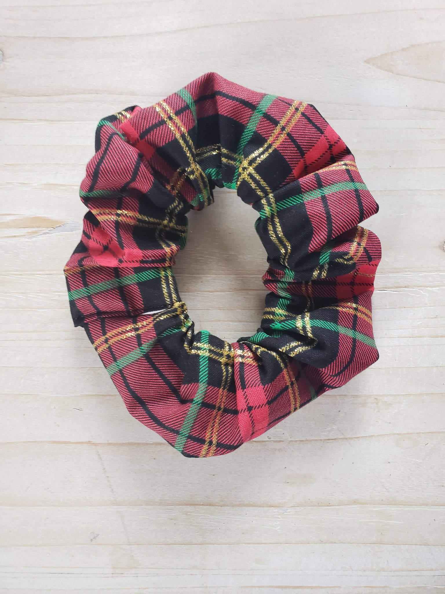 Plaid Scrunchie- Red  & Green