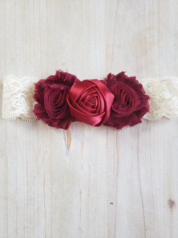 Red/Burgundy Lace Headband