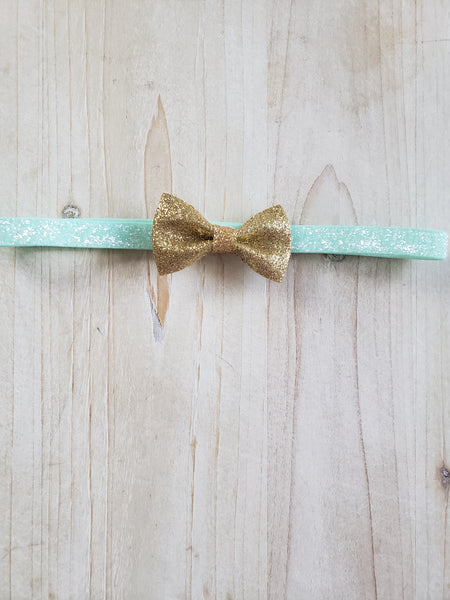 Sparkle Blue with Gold Bow Headband