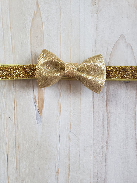 Sparkling Gold Bow Headband