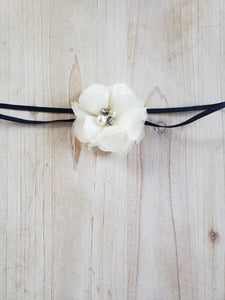 Single White Floral Headband