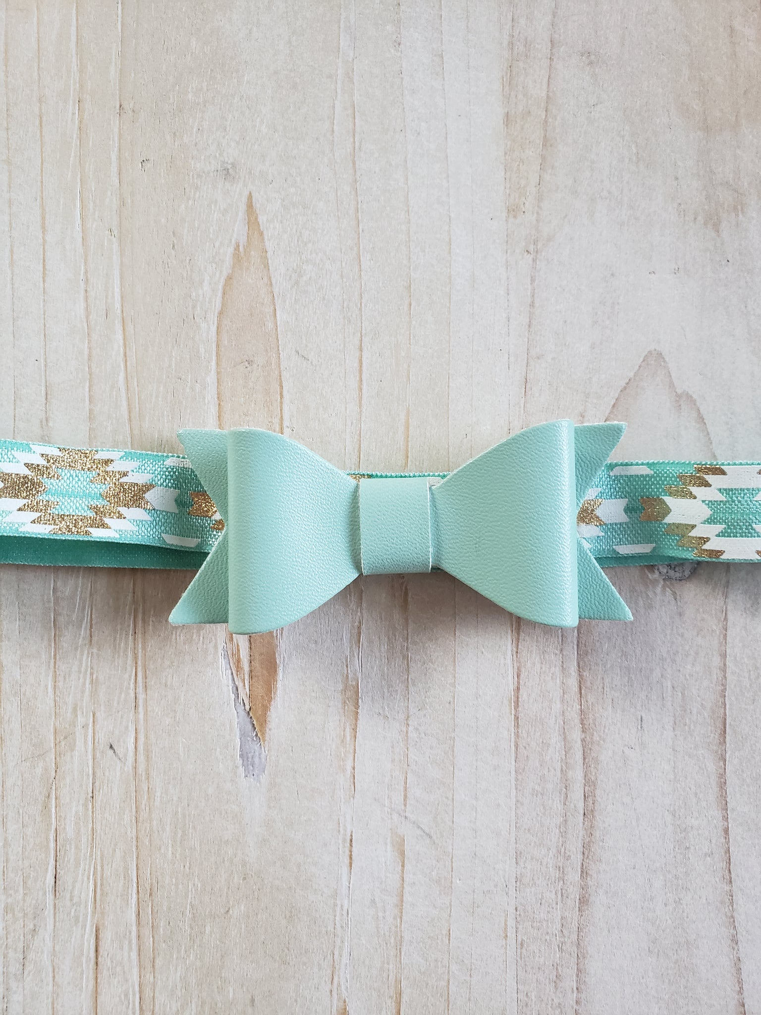 Aztec Patterned Headband- Blue Bow