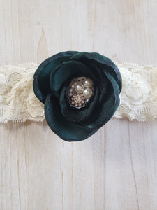 Floral Lace Headband- Green