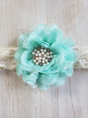 Teal Lace Headband