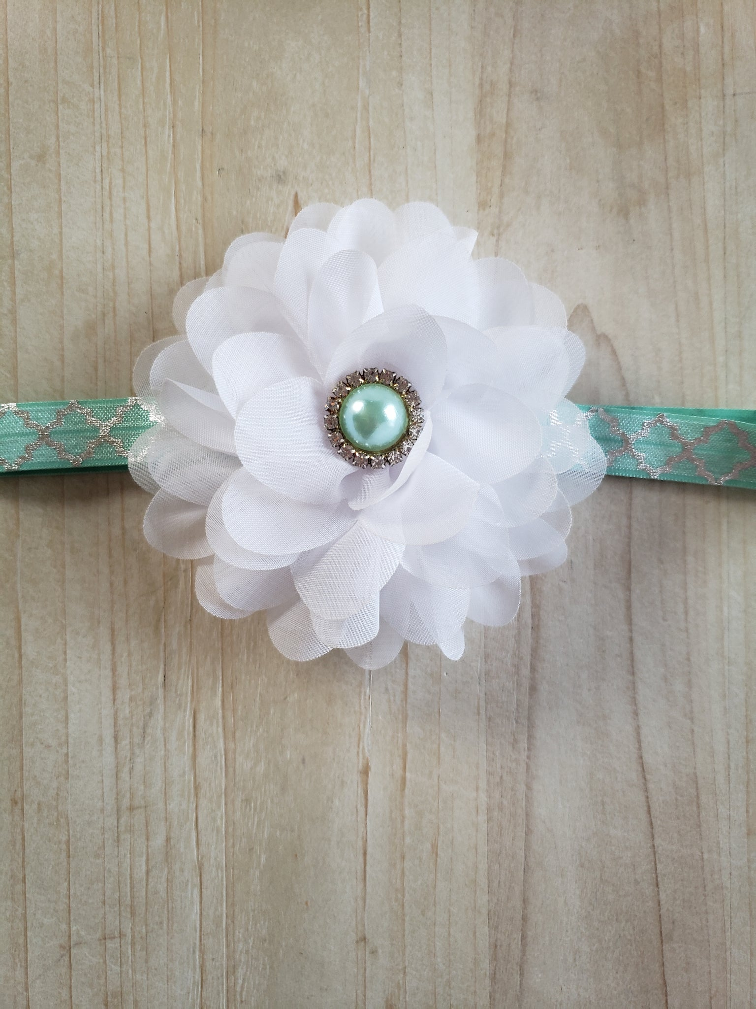 Teal Large White Floral Headband