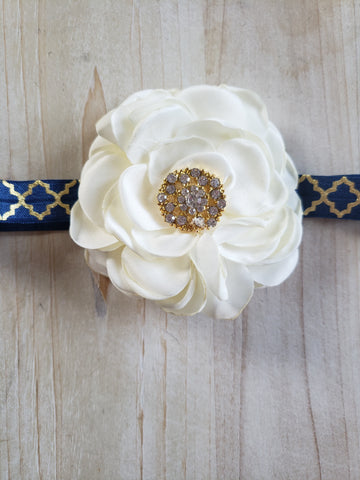 Navy, Gold & White Floral Headband