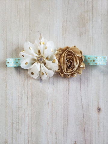 Gold Polk-A-Dot Floral Headband