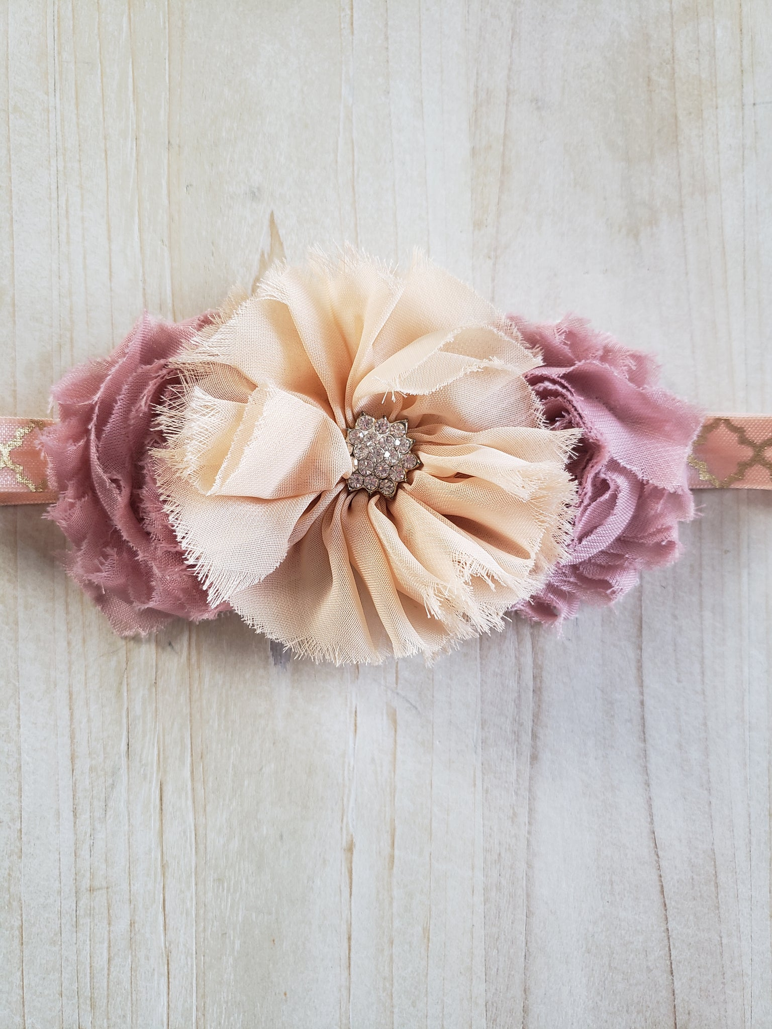 Light Mauve & Peach Floral Headband