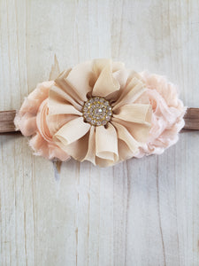 Triple Floral Headband- Peach & Natural