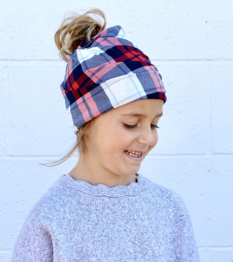 Child Size- Pretty Simple Beanie - Red & White Plaid