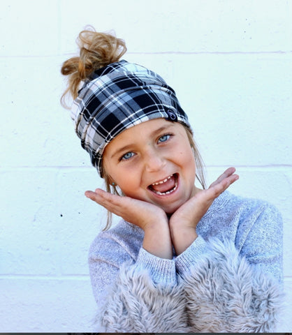 Child Size- Pretty Simple Beanie - Black & White Plaid