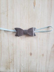Sparkle Bow Headband- Grey