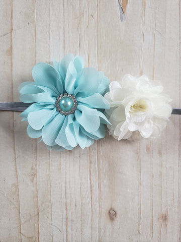 Floral Headband- Blue & White