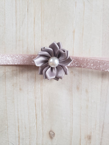 Floral Sparkle Headband- Grey