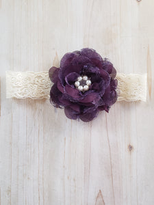 Infant Headband- Plum & Lace