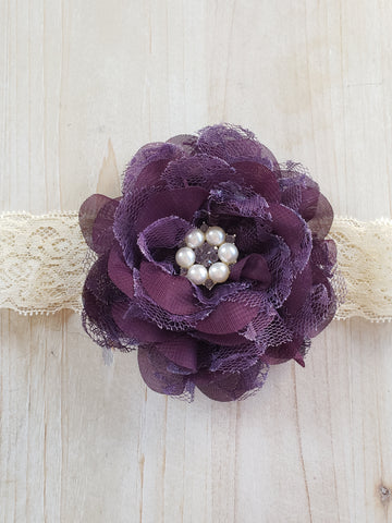 Lace Infant Headband- Deep Purple